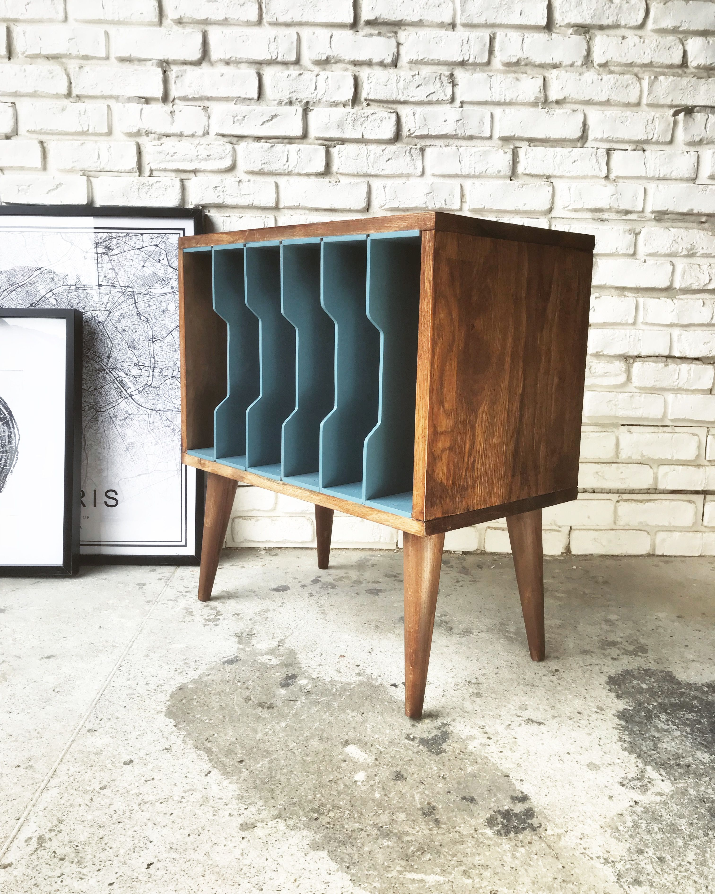 meuble rangement vinyles magazines vintage scandinave danois made in france - Meuble Danois