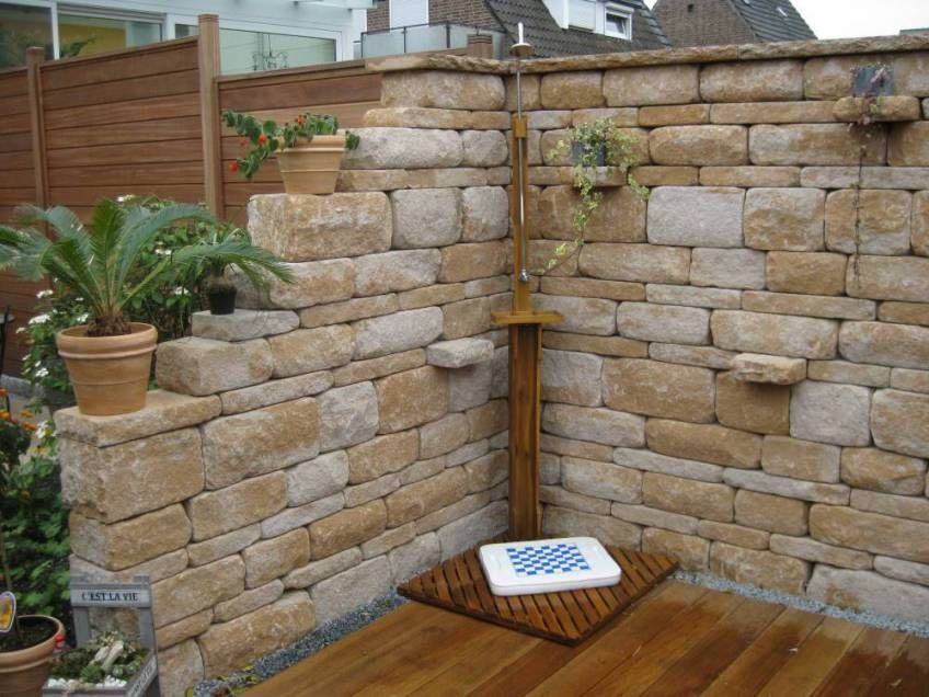Mauer mediterran Garten teich Pinterest Mediterran, Gärten - steinmauer garten mediterran