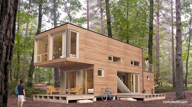 Casa cabaña modular hecha de contenedores reutilizados y cubierta de madera producida en C…   Casas prefabricadas, Casas contenedores, Casas hechas con contenedores