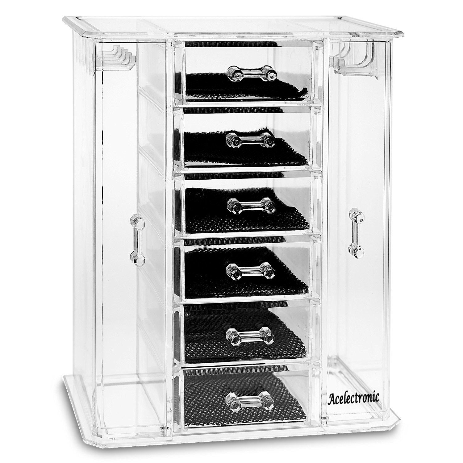 Acelectronic Large Clear Makeup Jewellery Acrylic Box