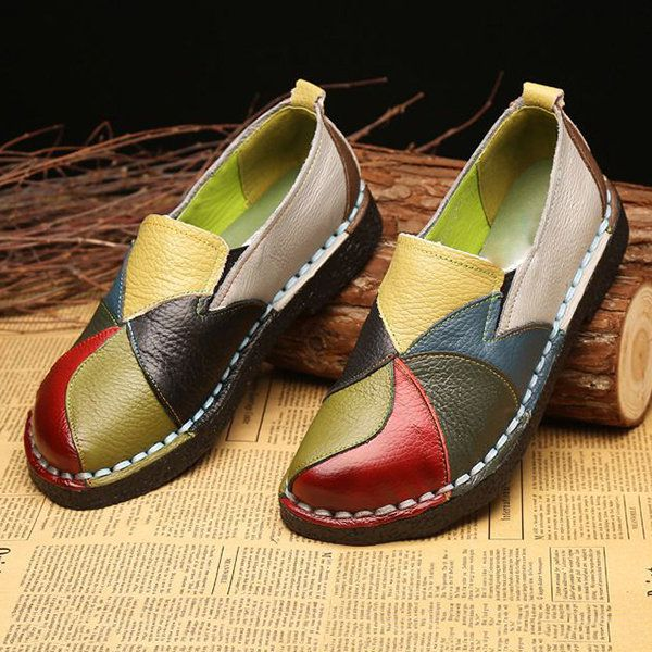 Hot-sale SOCOFY Handmade Splicing Leather Soft Flat Loafers - NewChic |  Stuff to Buy | Pinterest