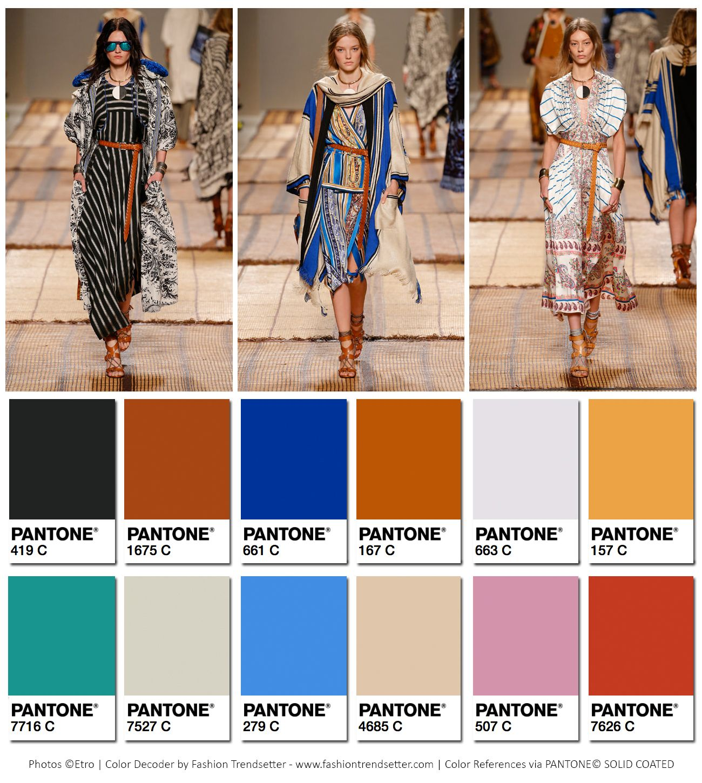 Etro Spring/Summer 2017 Collection Color Codes