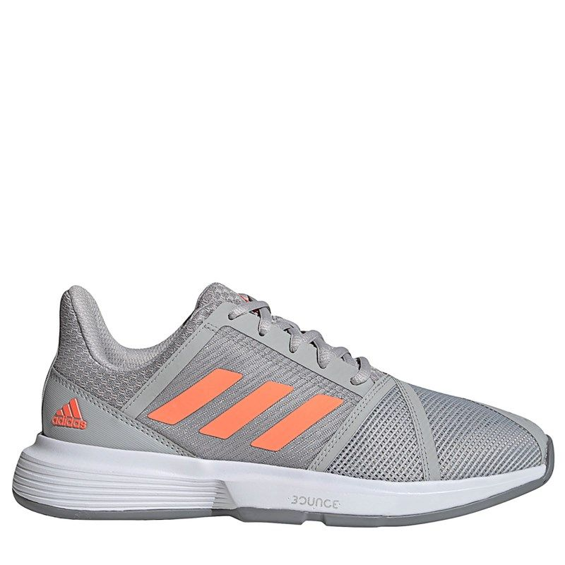 Adidas Women S Courtjam Bounce Sneakers Grey Signal Coral Grey In 2020 Sneakers Womens Slippers Adidas