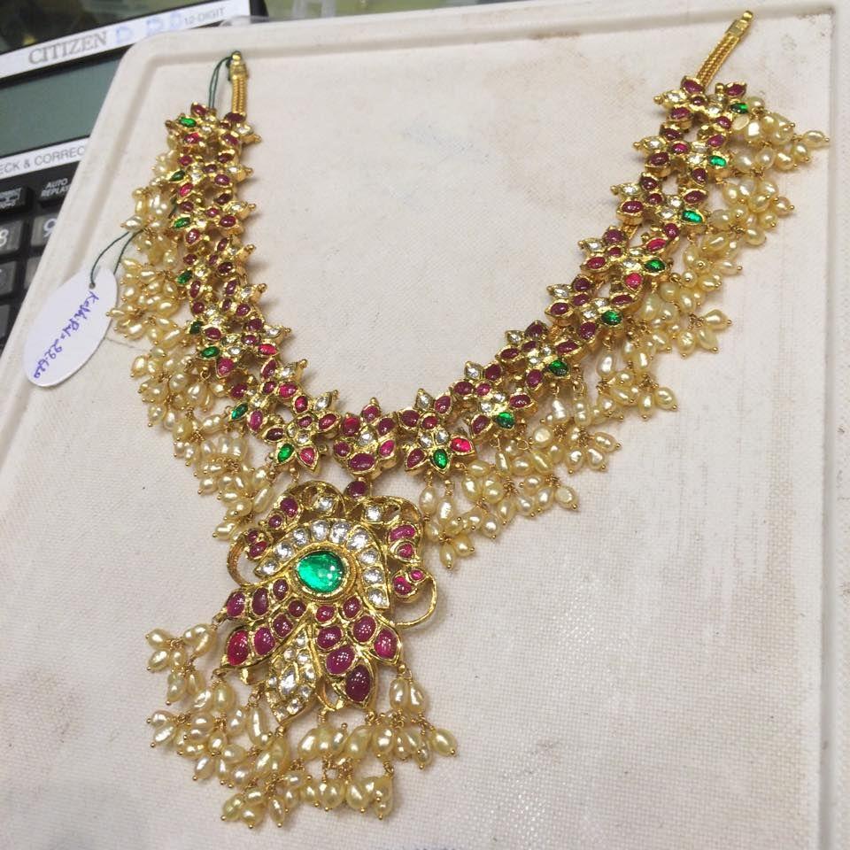 b8879a63e8339 ruby gutta pusalu | Temple jewellery / Multi coloured stone ...