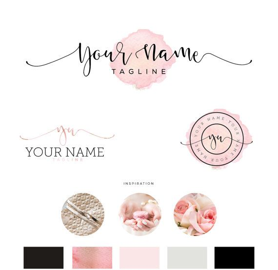 Premade logo watercolor logo circle logo pink logo Branding and logo design companies