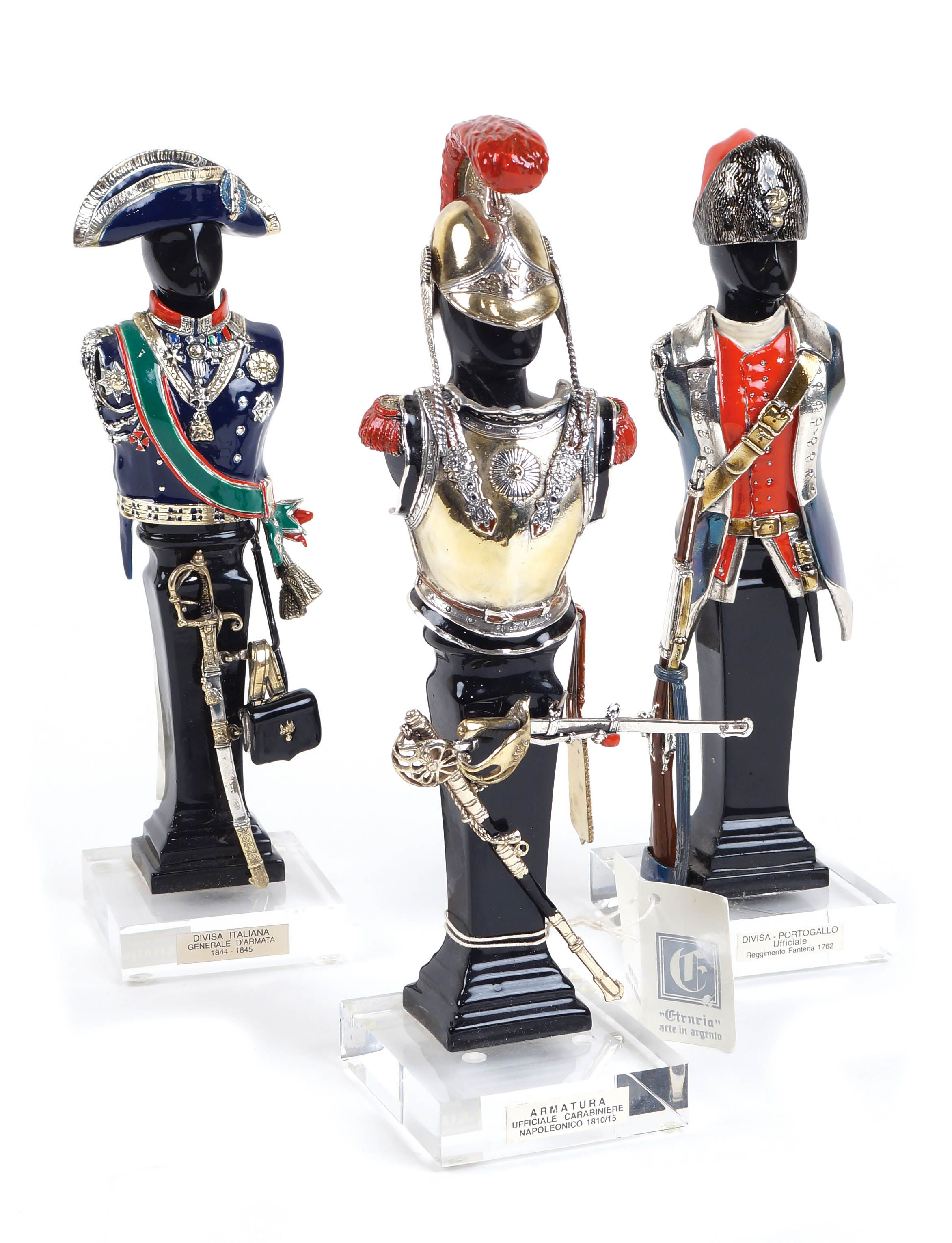 A SET OF THREE 925 SILVER SOLDIERS 20th century Enamel decorations  Lot 212