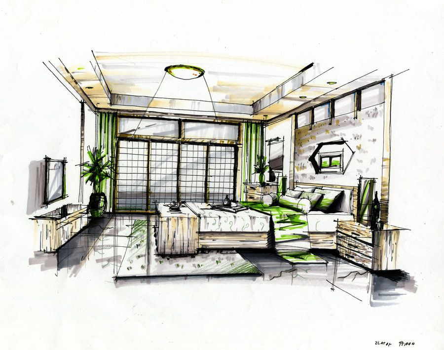 Perspective bedroom rendering landscape architecture for Bedroom designs sketch
