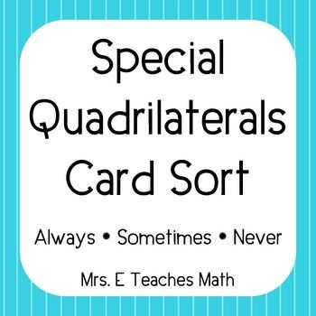 Special quadrilaterals card sort school pinterest maths special quadrilaterals card sort ccuart Choice Image