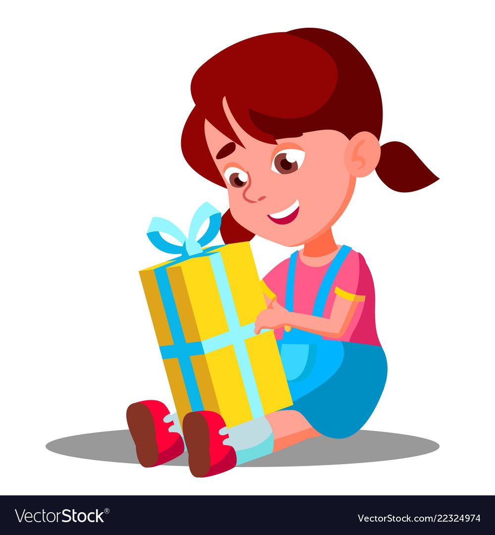 Little Girl Opening Gift Christmas Box Vector ...