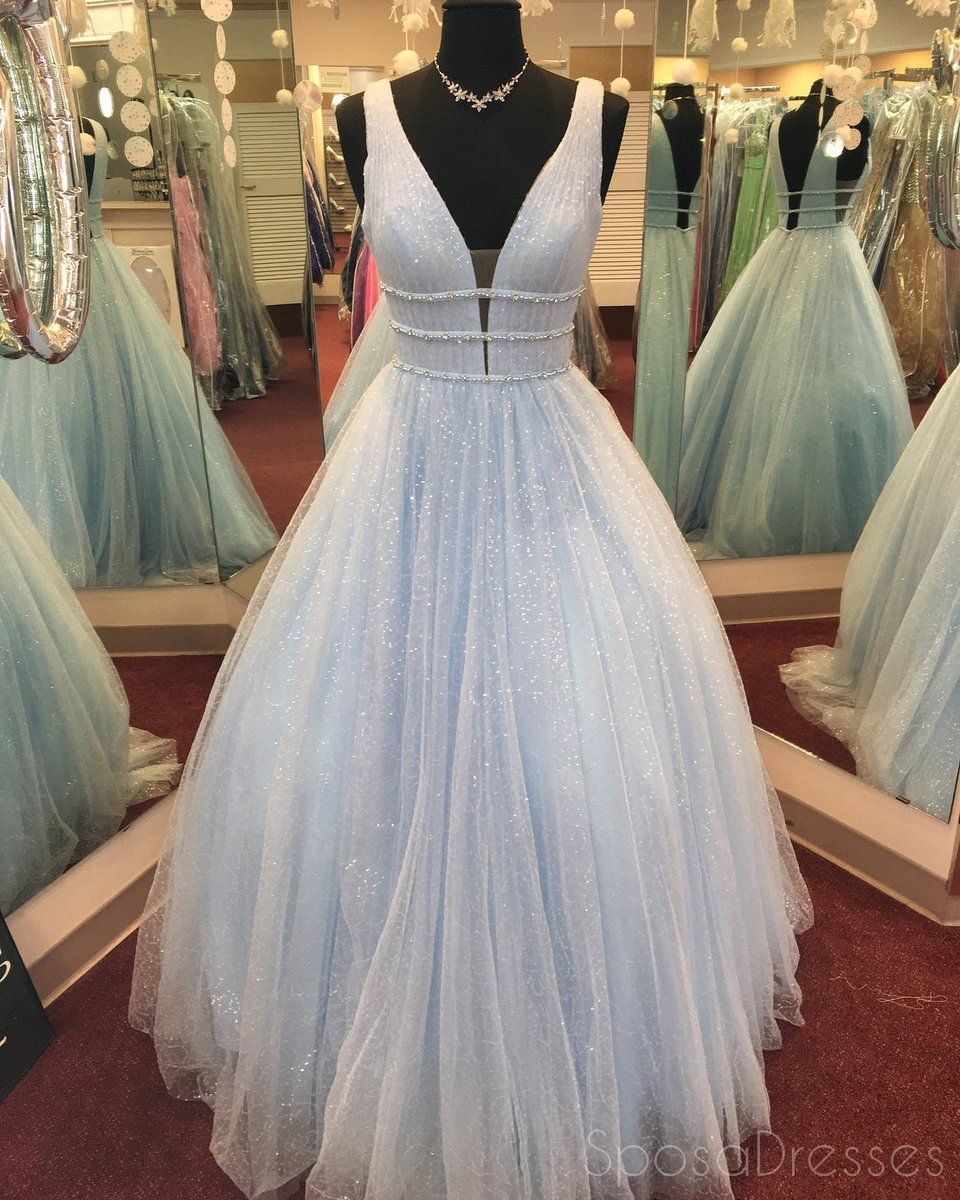 Blush Pink V Neck Straps A Line Sparkly Tulle Long Evening Prom Dresses 17562 In 2021 Light Blue Prom Dress Prom Dresses Blue Prom Dresses Long [ 1200 x 960 Pixel ]