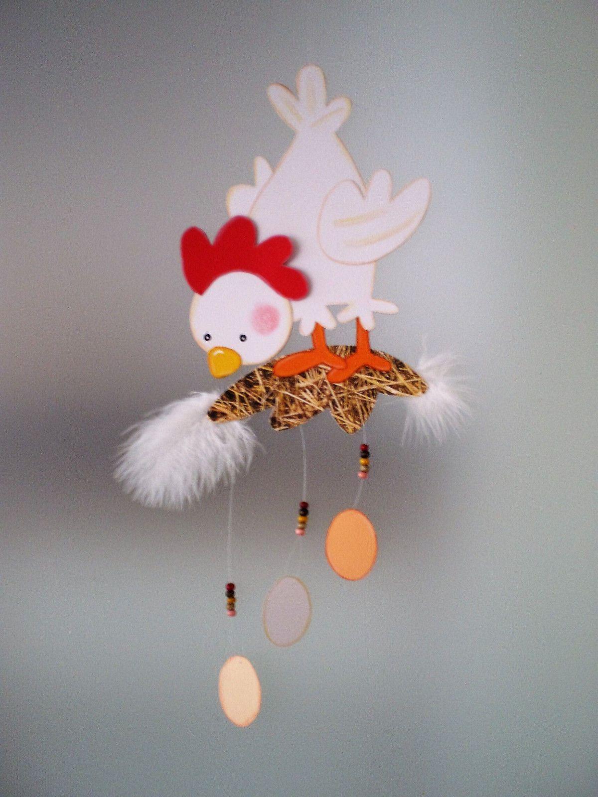 Fensterbild Huhn auf Stroh -Ostern-Küche-Dekoration - Tonkarton! F ...