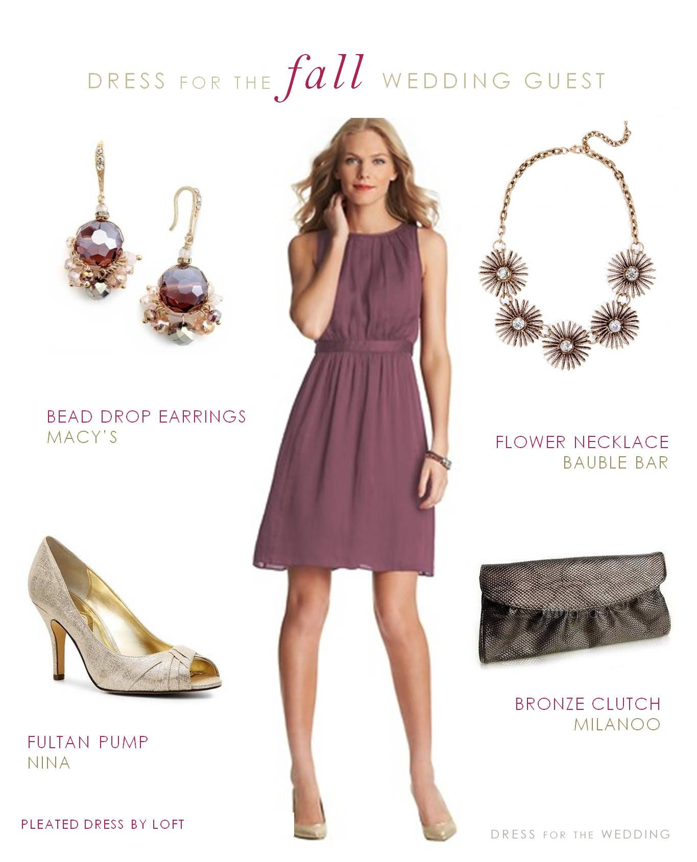 af10006b36a0 A dressy casual dress for a September wedding guest. A pretty mauve dress  with accessories ideas to wear to fall weddings.