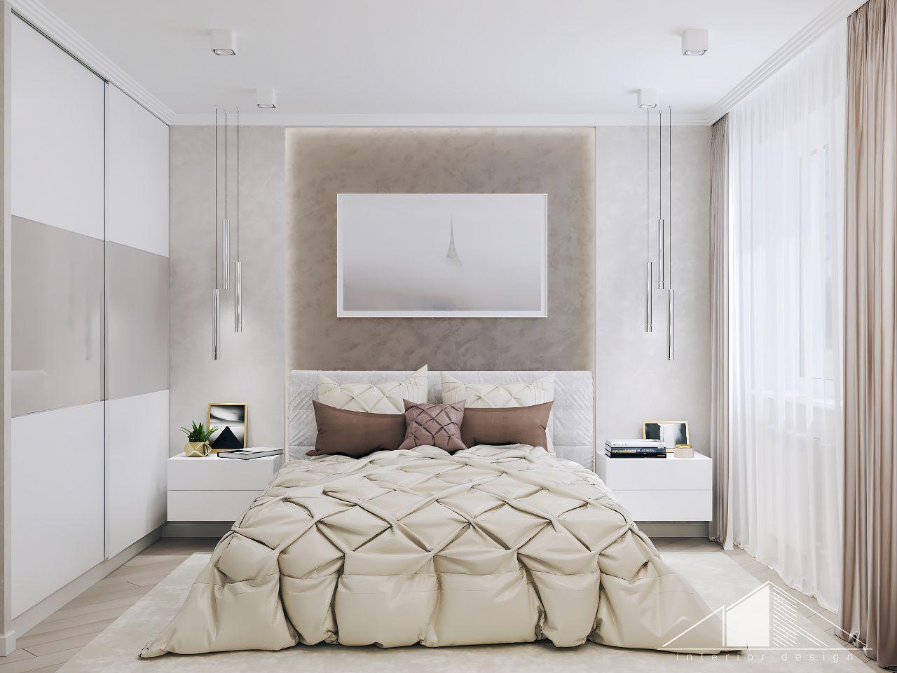 Дизайн интерьера современной светлой спальни в пастельных тонах в