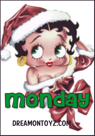Monday MORE Betty Boop Images http://bettybooppicturesarchive.blogspot.com/  ~And on Facebook~ https://www.facebook.com/bettybooppictures    Sexy Betty Boop wearing Santa hat and outfit with big red bow #Greeting #Christmas