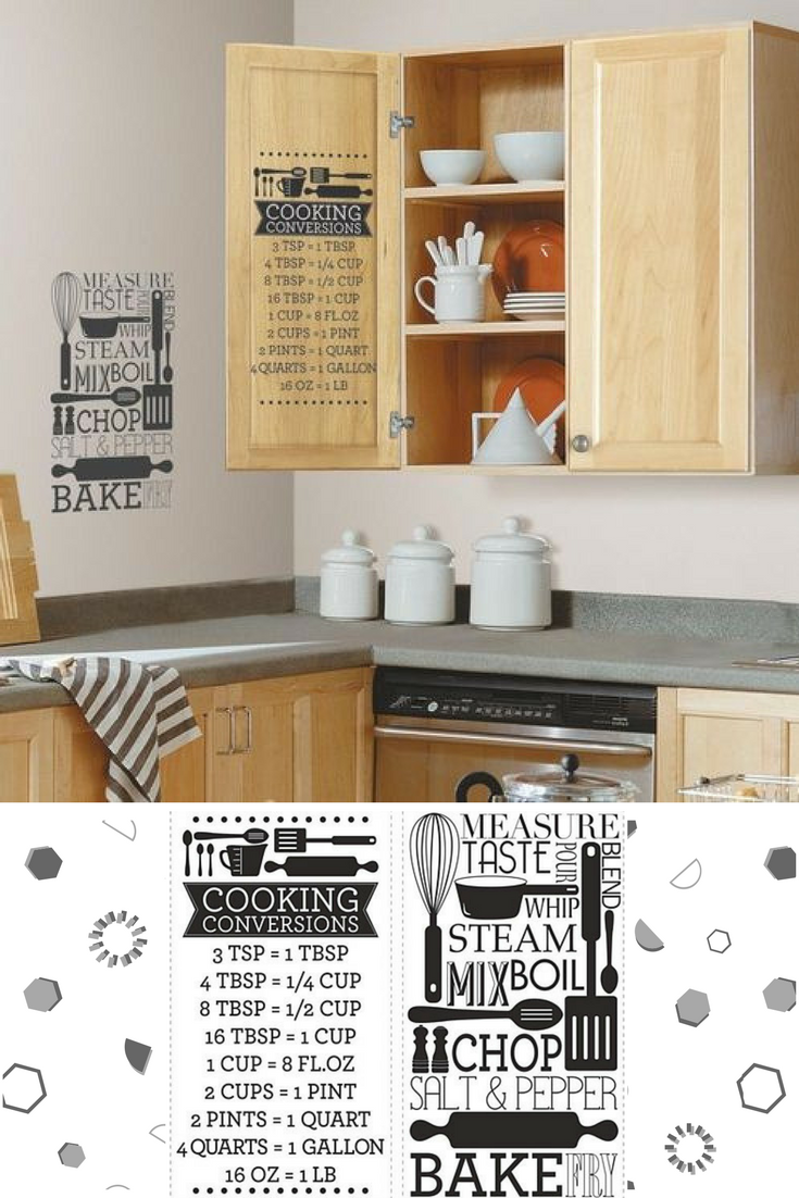 Make Cooking Easy With This Cooking Conversion Peel And Stick Wall Decals Perfect To Decorate Kitchen Walls Or Kitchen Decor Cooking Conversions Kitchen Wall