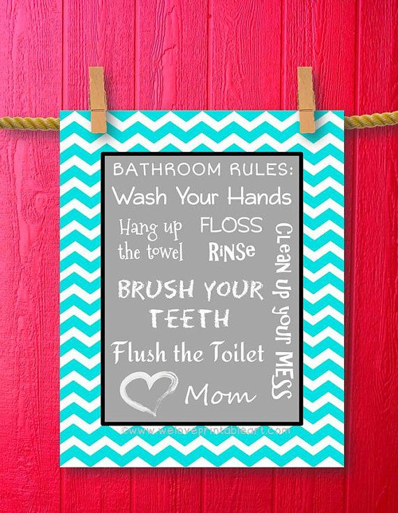 Diy Kids Bathroom Decor turquoise chevron, kids bathroom decor, bathroom rules, printable