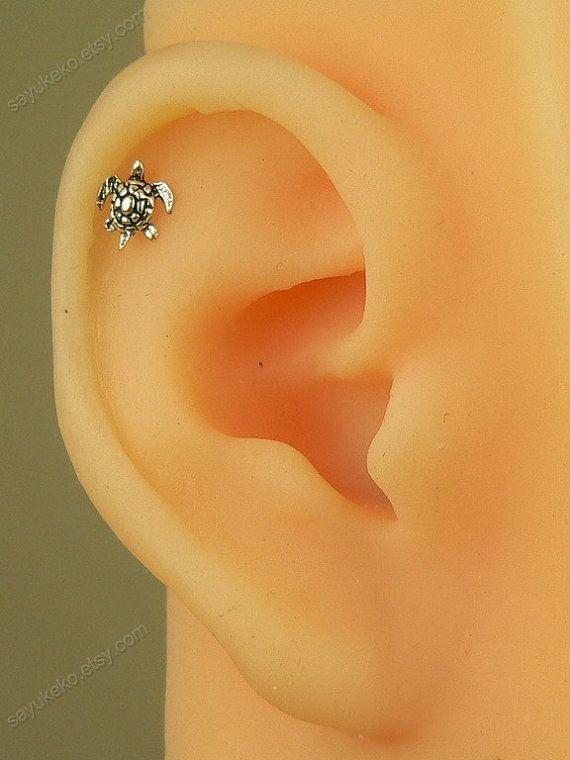 34bebdb5f Cartilage earring sterling silver mini turtle cartilage earring,birthday  gift,women earring,animal earring unique earring,MSL_33