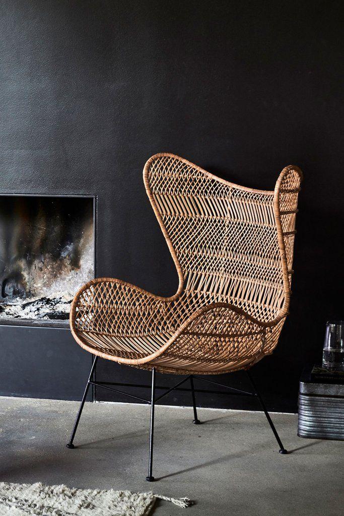 Laidback rattan chair bohemian style Rattan chair