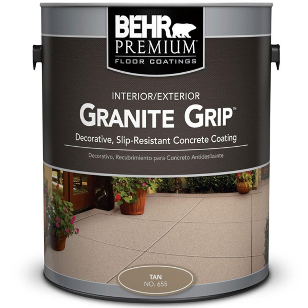Behr Premium 1 Gal Tan Granite Grip Decorative Flat Interior Exterior Concrete Floor Coating 65501 The Home Depot In 2020 Painting Concrete Concrete Floor Coatings Exterior Concrete Paint