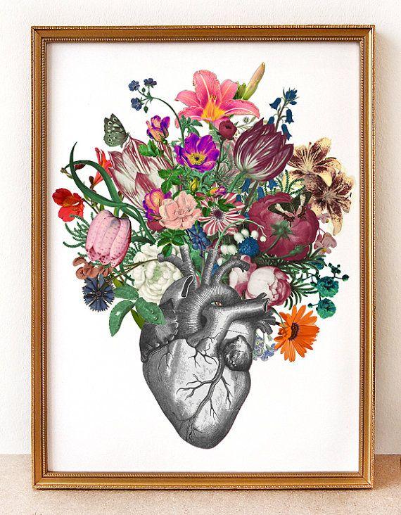 Corazón anatómico y flores-digital impresión gran por Fleuriosity ...