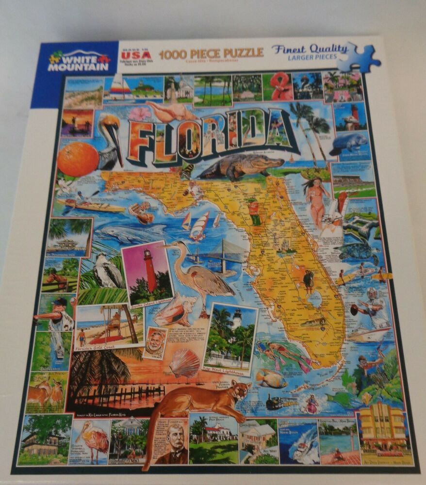 Florida State Map Landmarks Tourist Attractions White Mountain Jigsaw 1000 Usa Ebay Florida State Map State Map Florida State