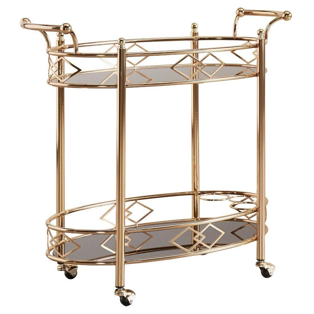 Annie Vintage Metal & Glass Bar Cart - Rose Gold - Inspire Q