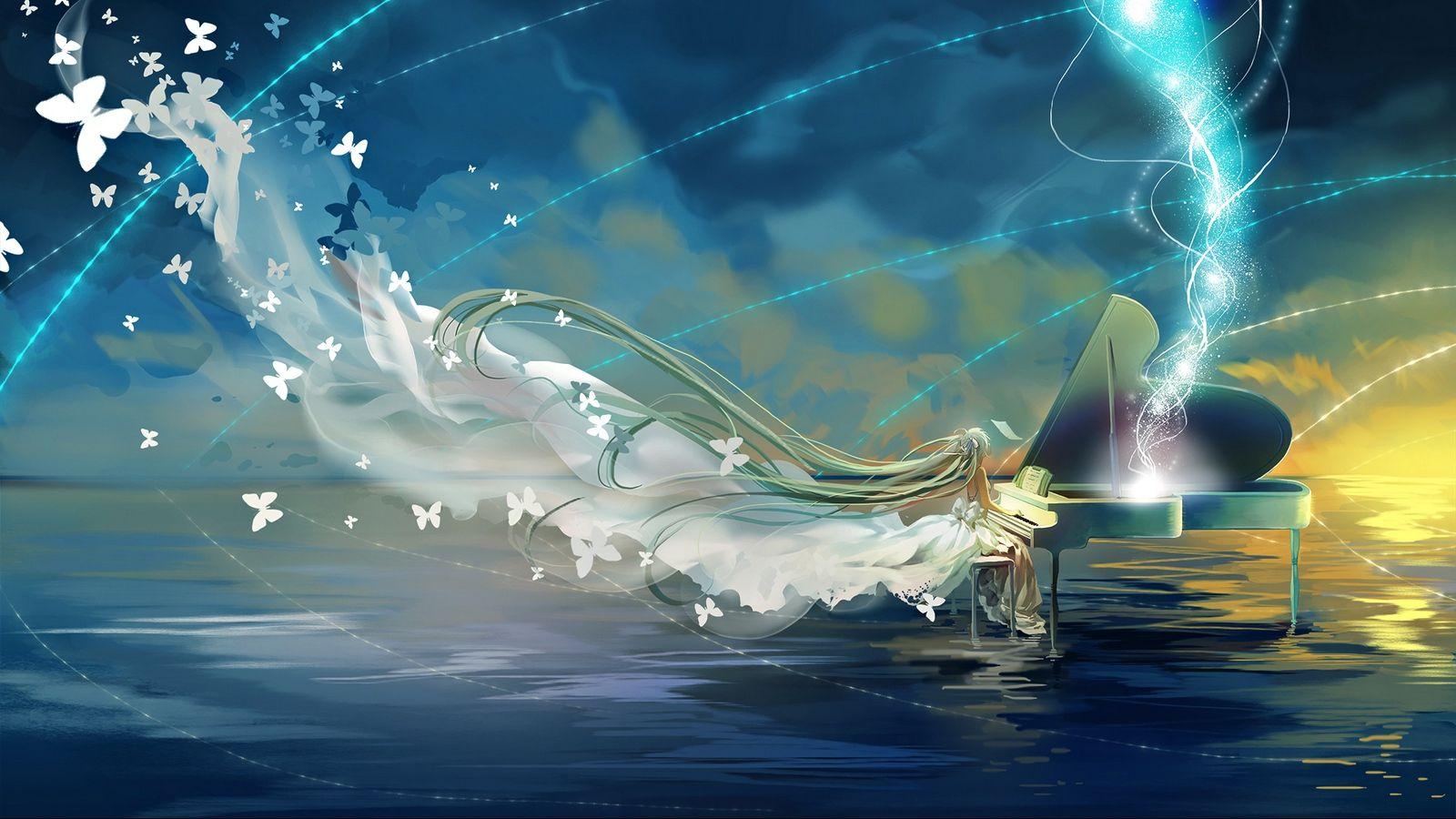 Download Wallpaper 1600x900 Vocaloid Hatsune Miku Piano Sky Butterfly Widescreen 16 9 Hd Background Hatsune Miku Anime Wallpaper 1920x1080 Hatsune Anime desktop wallpaper 1600x900