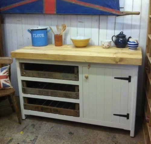 Rustic Wooden Solid Pine Freestanding Open Kitchen Island Unit Cupboard Trays