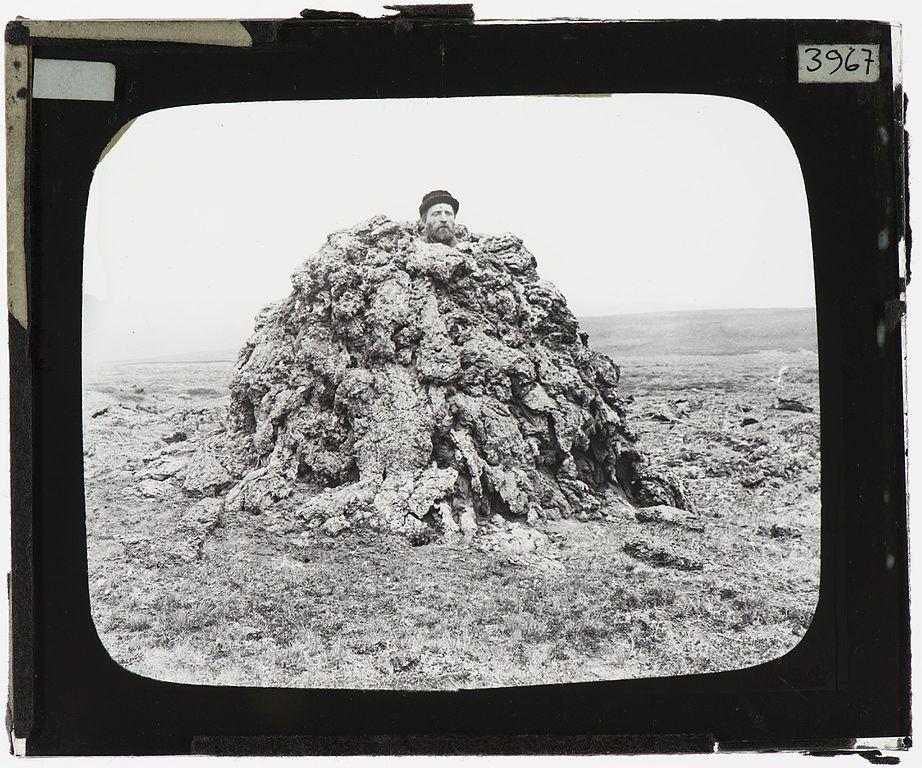 A man in a spiracle, Iceland – YORYM : TA3967 (1893)   https://commons.wikimedia.org/wiki/File:Spiracle_near_Laxamyri_Iceland_YORYM_TA3967.jpg