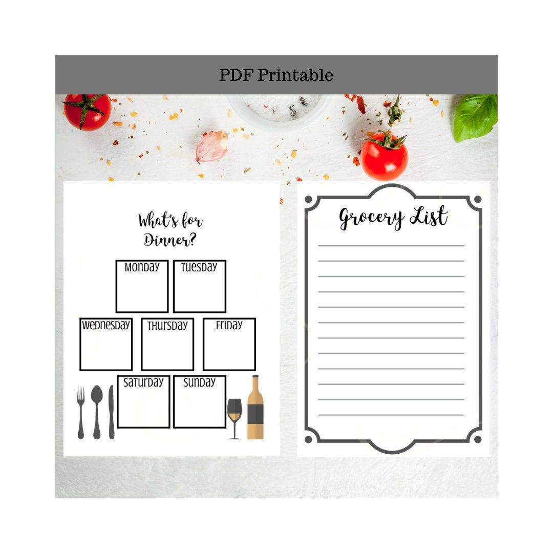 Meal Plan Worksheet Including Grocery List Printable