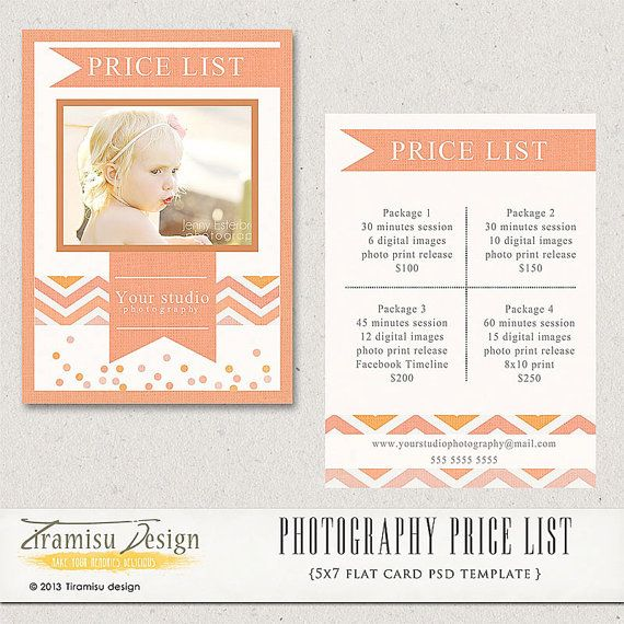 Photography Price List Photography Pricing by TiramisuDesign - price list template