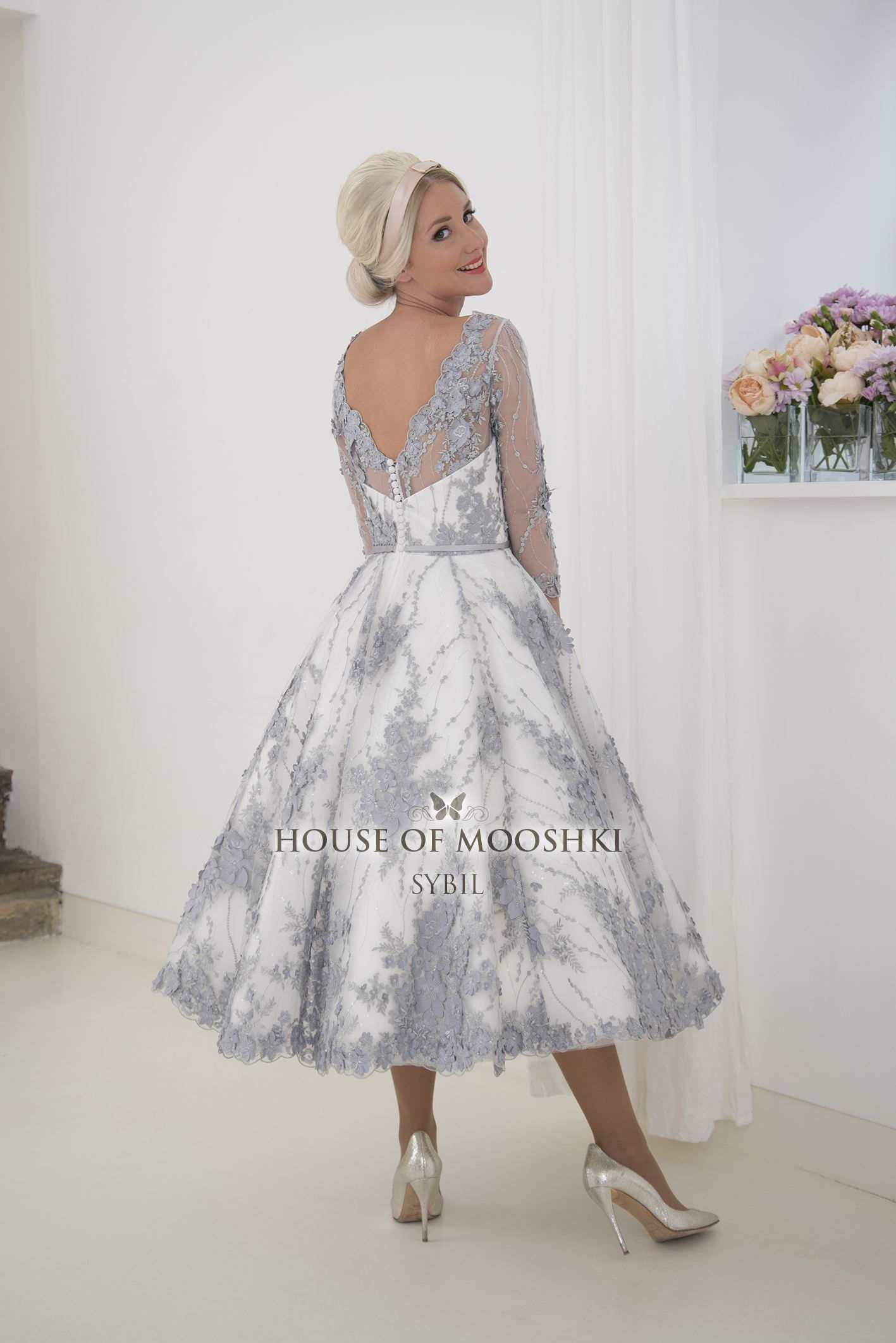 Elegant and classic calf length lace wedding dress with  length