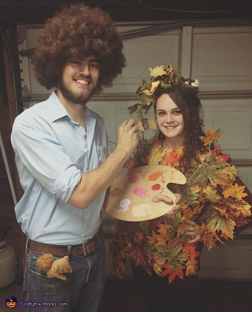 Couple up and re-create this hilarious Bob Ross and a tree costume this Halloween.  sc 1 st  Pinterest : ross costumes halloween  - Germanpascual.Com