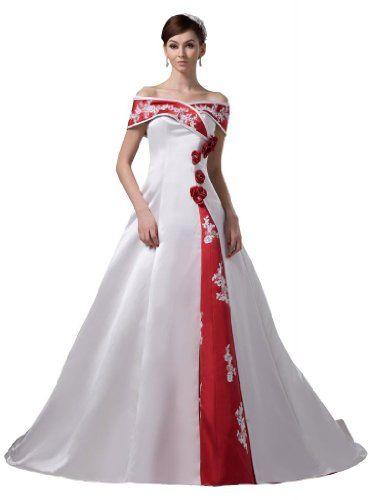 GEORGE BRIDE Vintage Off-shoulder Wedding Dress With Red Decoration ...
