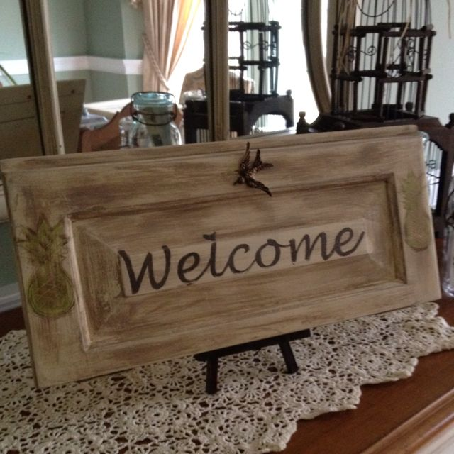 Welcome Sign On Upcycled Cabinet Door
