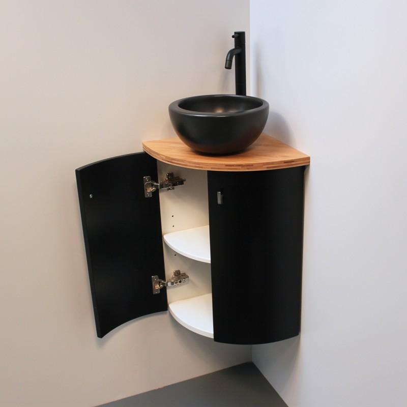 meuble d angle wc noir et bois deco