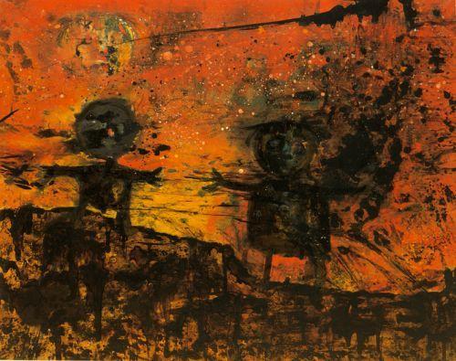 [Enrico Baj] Due bambini nella notte nucleare, 1956 - Siamo nel periodo storico della guerra fredda, una situazione drammatica nella quale l'atomo può assumere una valenza catastrofica così come lo furono le bombe scaricate su Hiroshima e Nagasaki. Baj, dunque, dipinge nelle sue tele tutta l'angoscia per una guerra atomica e per le sue inevitabili conseguenze. Questo clima è evidente nel dipinto, dove al rosso fuoco del cielo vengono contrapposte due figure, quasi ectoplasmi disciolti nelle…