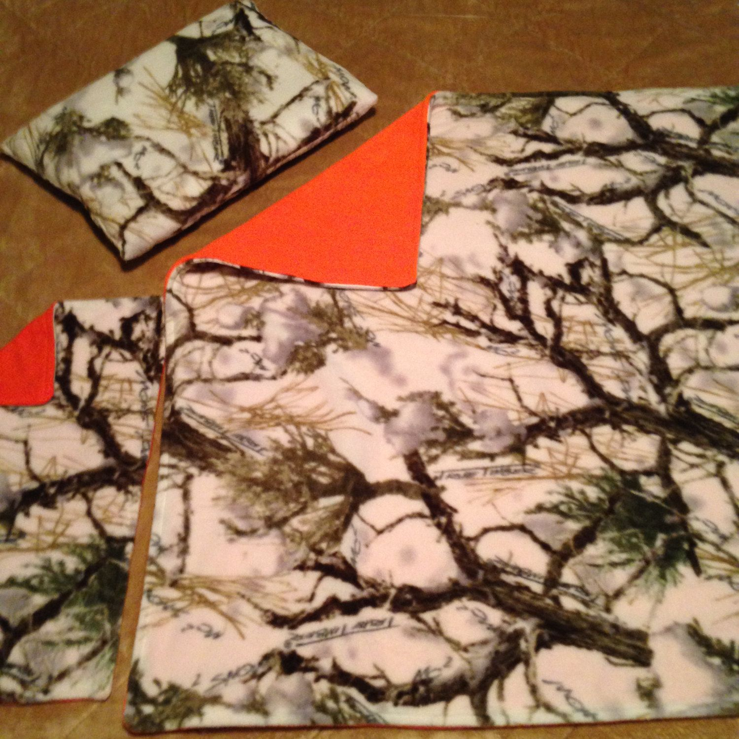 Baby Winter Camo Fleece Blanket Burp Rag and Pillow set by CountrySnuggles on Etsy