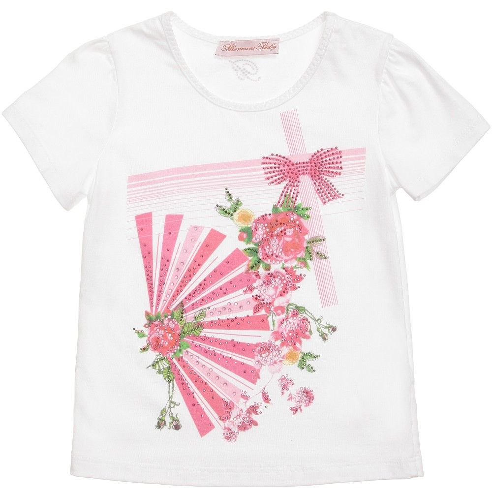 White Floral & Fan Cotton T-Shirt, Miss Blumarine, Girl