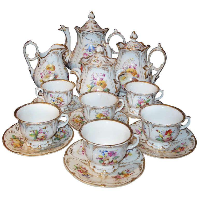 Dining UK Tea 17 Piece Coffee Set With Floral Pattern Dolls House Miniatures