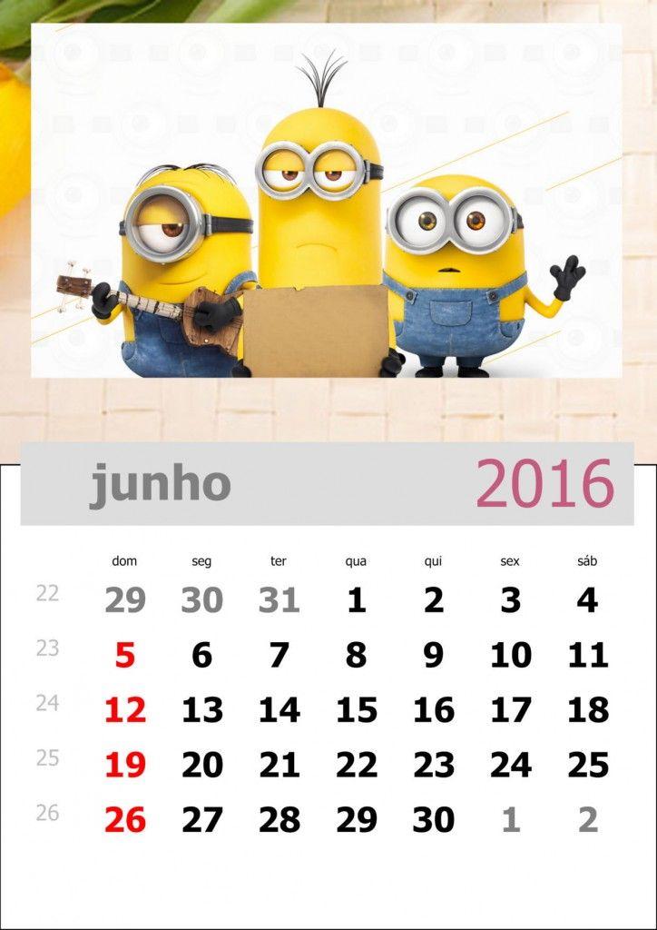 calendário dos minions mês de junho de 2016