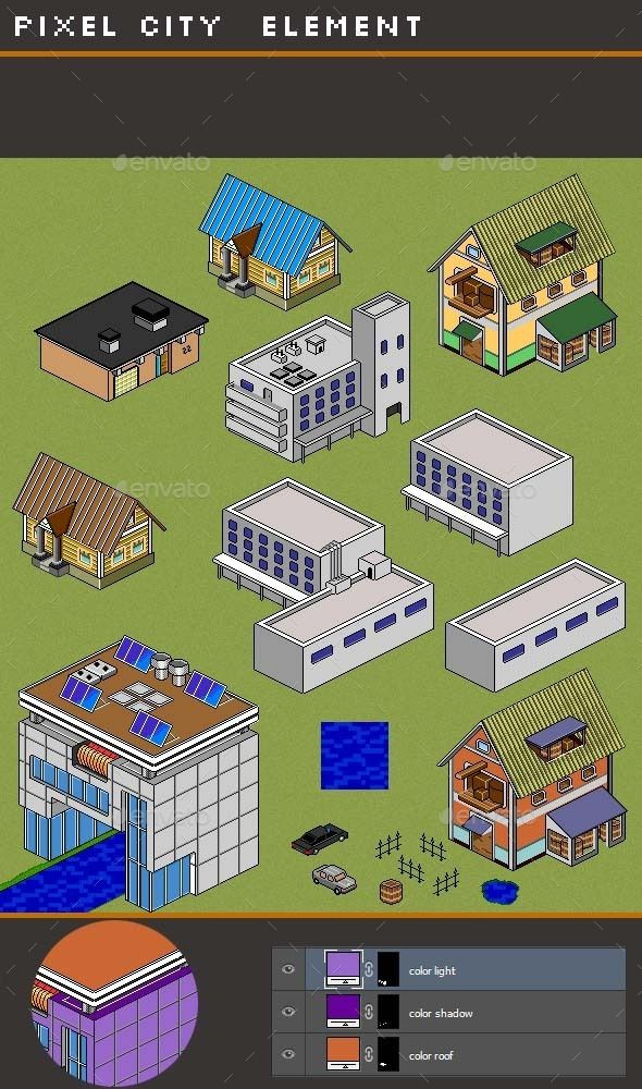 Pixel City Creation - Game Assets