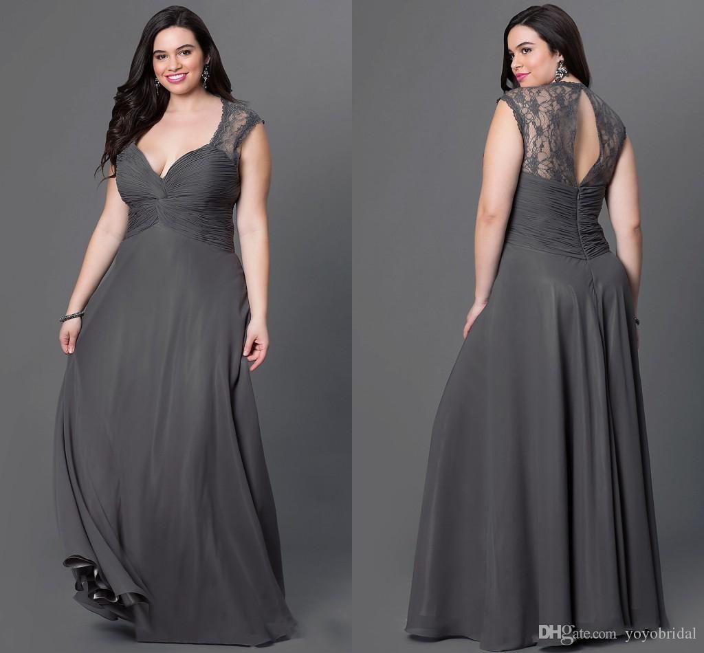 Hot Gray Hollow Bridesmaid Dresses 2017 Plus Size V Neck Lace Cap Short  Sleeves Long Cheap Prom Wedding… 2659b8d53b24
