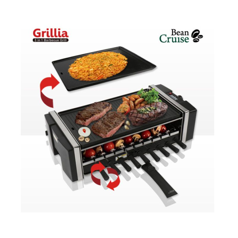 Bean Cruise 3 in 1 BCQ-1200 BBQ Indoor Electric Grill Ribbed/Smooth