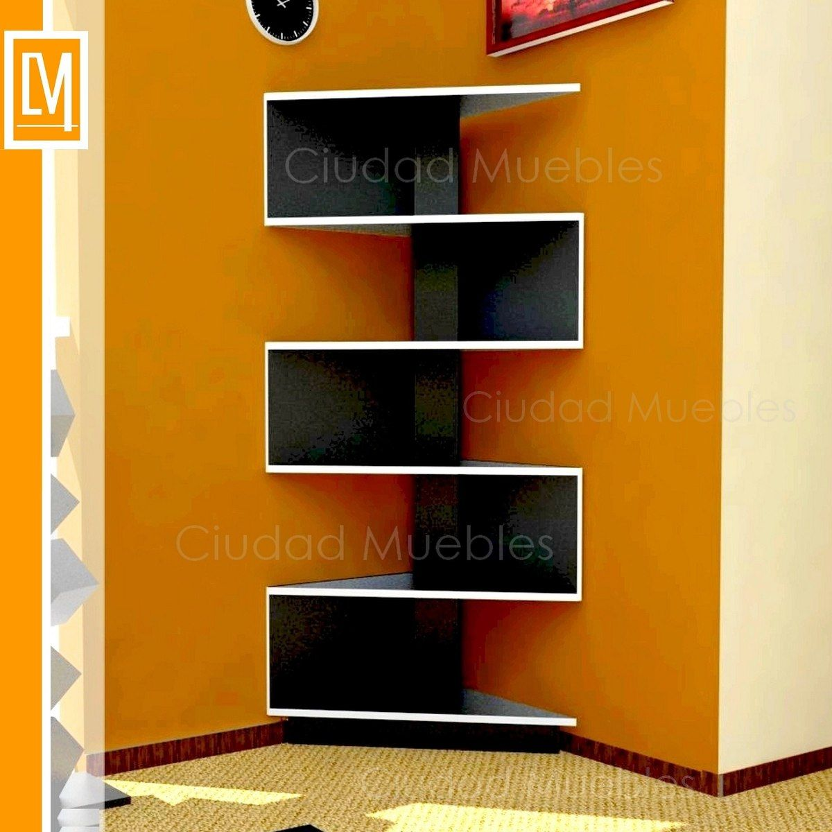 modular rack esquinero moderno diseo minimalista unico blanco negro - Diseos Modulares