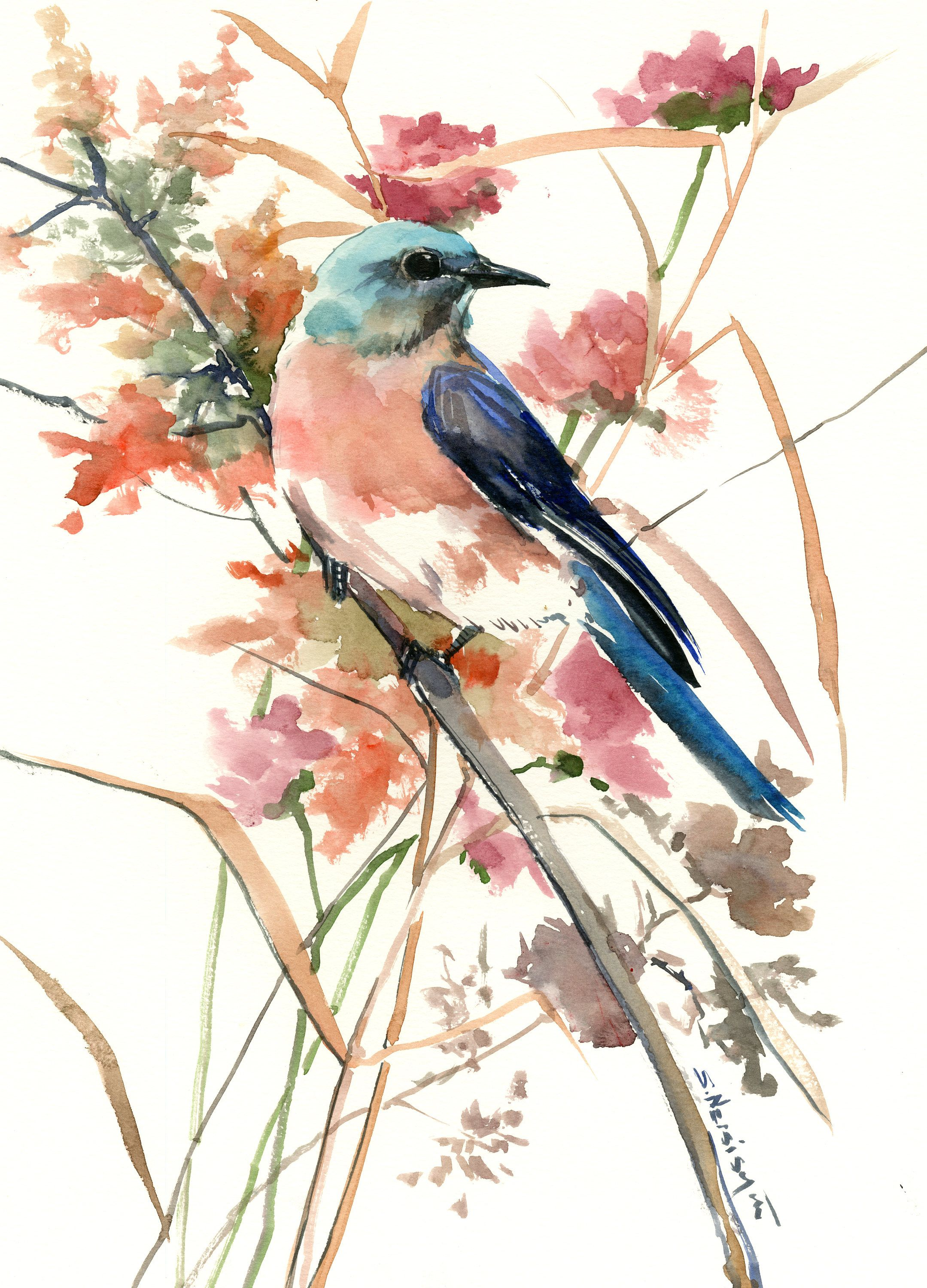Bluebird In The Field Original One Of A Kind Watercolor Painting