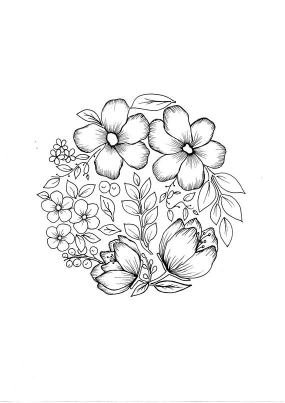 Flower Ball Pdf Coloring Page Etsy In 2020 Flower Drawing Design Easy Flower Drawings Coloring Pages