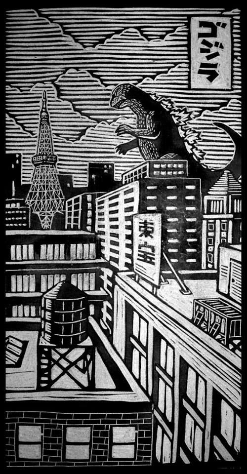 wood block print of godzilla in japan by brian reedy - Godzilla Pictures To Print