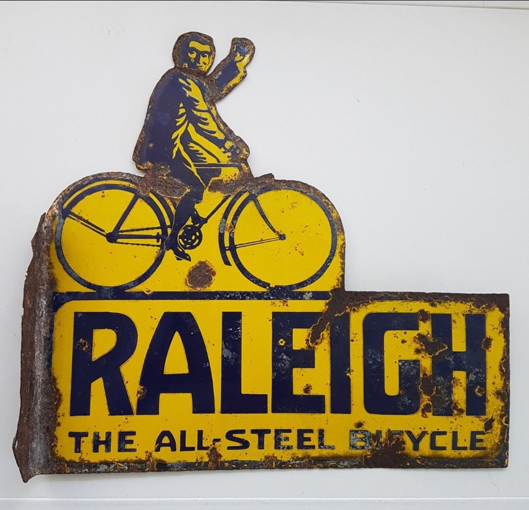 Vintage Raleigh Bicycle Enamel Sign Wooden Wall Signs Wall