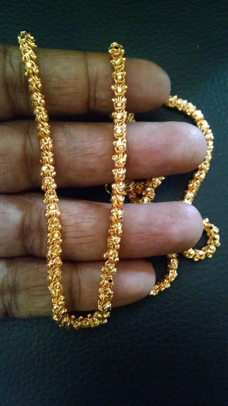 South Indian 30 Long Gold Plated Floral Chain Thick Wedding Necklace Jewelry Gold Chains For Men Gold Chain Jewelry Gold Jewelry Fashion